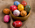 Easter colorful eggs gunny background Stock Image