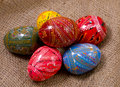 Easter colorful eggs gunny background Stock Photo