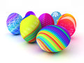 Easter colorful eggs on white background d render copy space Stock Image