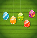 Easter colorful eggs on wooden texture illustration Stock Photo