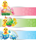 Easter colorful horizontal banners with chicken Stock Photo