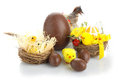 Easter composition with chocolate eggs Stock Photos