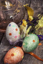 Easter composition with decorative eggs and flowers Stock Images