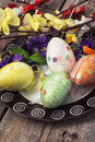 Easter composition with decorative eggs and flowers Royalty Free Stock Image