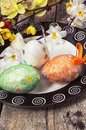 Easter composition with decorative eggs and flowers Stock Photo
