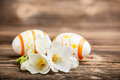 Easter composition eggs freesia flowers wooden Royalty Free Stock Photography