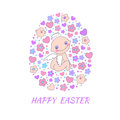 Easter concept card bright holiday background made of angel flowers birds and hearts in cartoon style in vector Stock Image