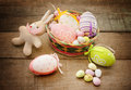 Easter concept easter eggs bunny puppet Stock Photo