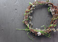 Easter concept wreath on a wooden background