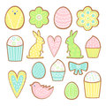 Easter cookies collection. Cookies of different forms isolated on white background