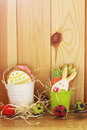 Easter cookies and eggs funny over wood background Royalty Free Stock Image