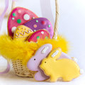 Easter cookies gift basket filled with Royalty Free Stock Photo