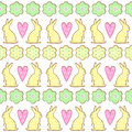 Easter cookies pattern, card - Easter bunny, flowers, hearts.