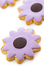 Easter cookies sugar in shape of flower with chocolate icing Royalty Free Stock Photos