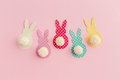Easter crafts pom pom bunny craft Stock Images
