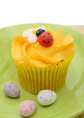 Easter cupcake and eggs Royalty Free Stock Photo
