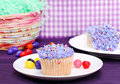 Easter cupcakes and jelly beans Stock Image