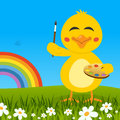 Easter Cute Chick with Palette & Rainbow Royalty Free Stock Photo