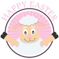 Easter cute lamb greeting card a happy pink with a isolated on white background eps file available Royalty Free Stock Image