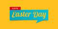 Easter Day banner isolated on yellow background. Banner design template in paper cutting art style. Vector.
