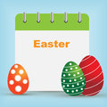 Easter day calendar with eggs on blue background Royalty Free Stock Image
