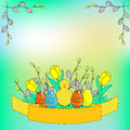 Easter Day celebration cartoon poster template.
