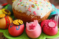 Easter decorated eggs and cake