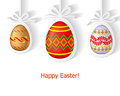 Easter decorated eggs greeting card with decorative hanging on ribbons Stock Photo