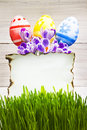 Easter decoration blank empty letter card handpainted eggs Stock Image