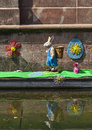 Easter decoration on a canal in colmar france april rd boat funny decorated specifically for alsace france Royalty Free Stock Photography