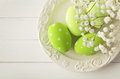 Easter decoration colorful eggs and spring flowers Stock Image