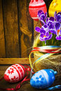 Easter decoration eggs spring flowers crocus baske Royalty Free Stock Photos