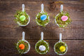 Easter decoration growing cress in small bowls view from the top atypical with small eggs Stock Images