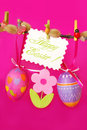 Easter decoration with hanging eggs Royalty Free Stock Photography