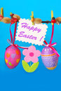 Easter decoration with hanging eggs Royalty Free Stock Photo