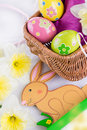 Easter decoration with rabbit eggs and tulips Stock Photo