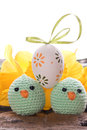 Easter decoration with ribbon easter eggs and chick Stock Photo