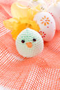 Easter decoration with ribbon easter eggs and chick Stock Photography
