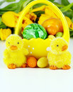Easter decoration with yellow tulips Royalty Free Stock Photo