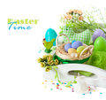 Easter decorations with colorful eggs and funny candles on a white background Royalty Free Stock Images