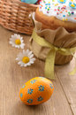 Easter decorations eggs  cake and basket Royalty Free Stock Photography