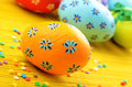 Easter decorations eggs with  painted flowers Royalty Free Stock Photography