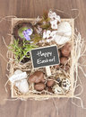 Easter decorations in small wooden box Stock Photography