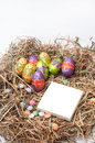 Easter decorative chocolate eggs in the nest with empty note pap paper Royalty Free Stock Images