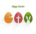 Easter decorative eggs on white background greeting card Royalty Free Stock Photos