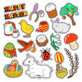 Easter Decorative Elements with Rabbit, Eggs