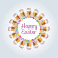 Easter decorative frame with easter eggs and cakes on light background.