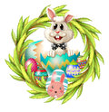 An easter design with a bunny eggs and leafy plant illustration of Stock Image