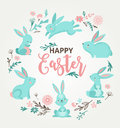 Easter design with cute banny and text, hand drawn illustration Royalty Free Stock Photo