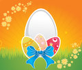 Easter design decorated eggs on grass in sunny day Stock Image
